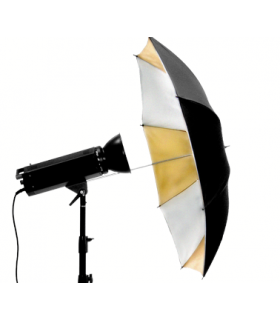 Double-Layer 90cm Silver-Gold (Inside) and Black (Outside) Umbrella S-39