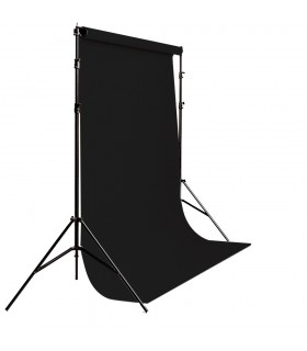 S&S Portable Background Holder + Background Roll 3m x 5m Black