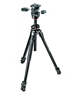 Manfrotto 290 DUAL Alu 3 Tripod w 90°column and 3W Head Kit - MK290DUA3-3W