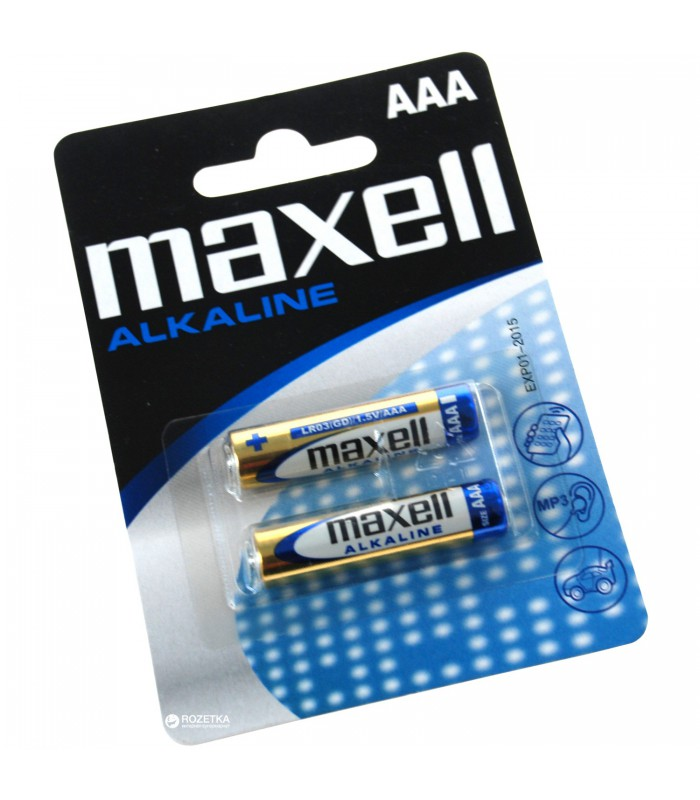 Maxell Alkaline Battery, AAA, Blister pack of 2