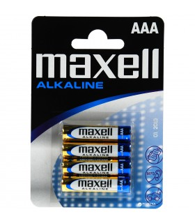 Maxell Alkaline Battery, AAA, Blister pack of 4