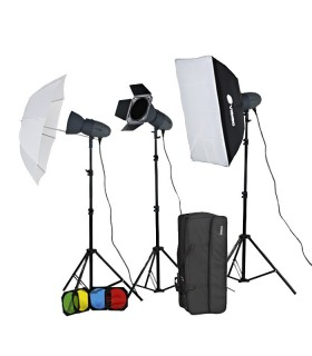 Visico Studio Flash VL-300 PLUS Softbox And Barndoor Kit