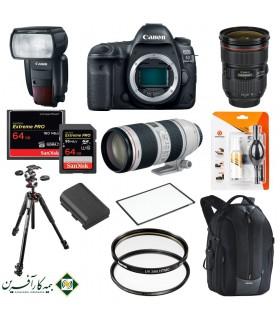 بسته پیشنهادی Delux دوربین دیجیتال کانن مدل 5D Mark IV بههمراه لنزهای ۷۰-۲۴ و ۲۰۰-۷۰ میلیمتر و لوازم جانبی