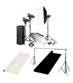 کیت فلاش استودیویی ۲۰۰ ژول S&S مدل SK-200 بههمراه پایه و پرده